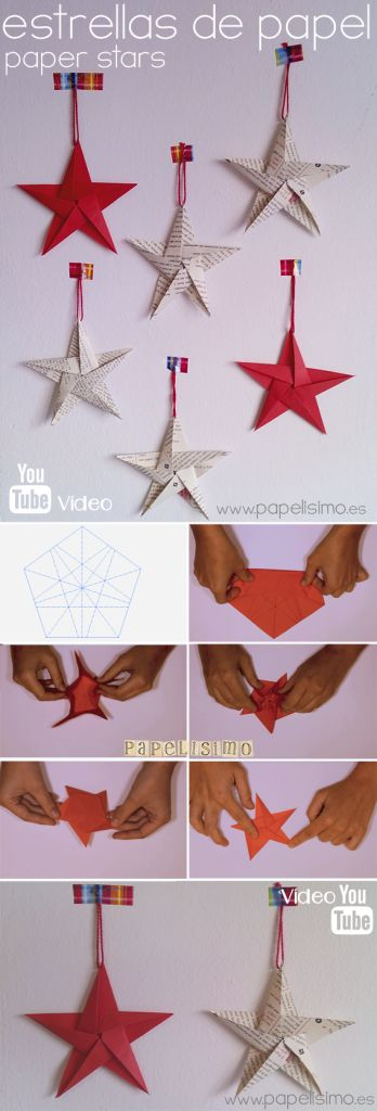 Cómo hacer estrellas de papel cinco puntas | Aprender manualidades es facilisimo.com -- Great for Christmas decorations!