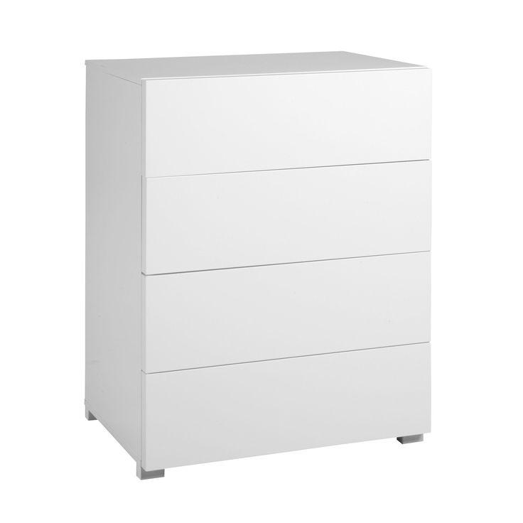 Commode 4 tiroirs blanc brillant Blanc - Gloss - Les commodes - Commodes, chiffonniers et coiffeuses - Tous les meubles - Décoration d'intérieur - Alinéa