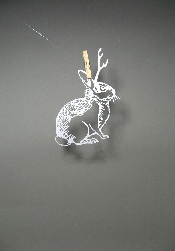 PaperCut Scherenschnitte Jackalope Cryptozoology in by catfriendo