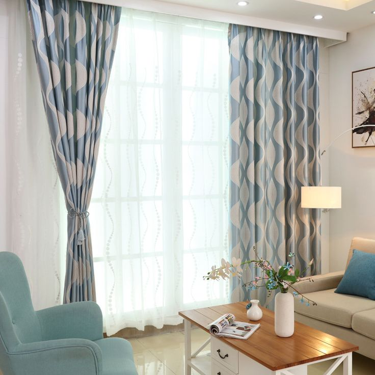 Cheap curtain top, Buy Quality curtains for large windows directly from China curtain eyelet Suppliers: Luxurious European style modern simple striped wave jacquard curtains blue stirped window curtains for bedroom and living room