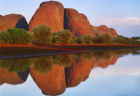 The Olga Mountains, Australia. 36 stunning peaks in Uluru-Kata Tjuta National Park formed by rain and wind erosion...I'm going to go on a hike here..