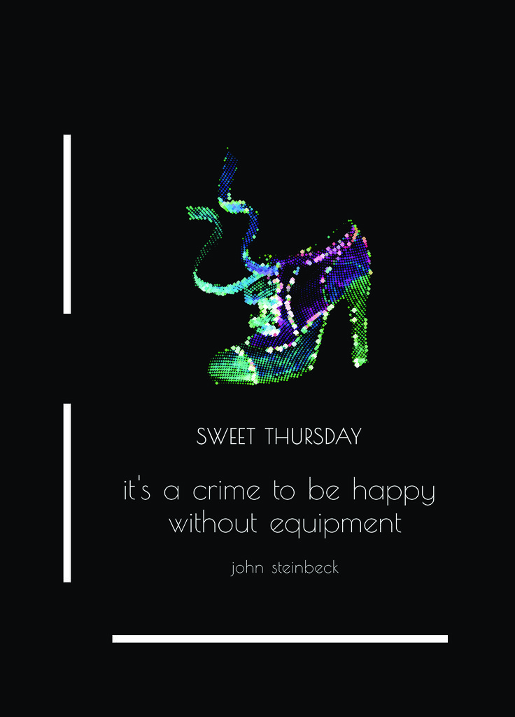 "The book cover created by Ioana Nicolescu, http://www.codenoir-style.com/ro/ – ""Sweet Thursday"", John Steinbeck - for Book Cover Tee / Placerile lui Noe X Lucian Broscatean. Limited edition available on http://www.molecule-f.com/book-cover-tee-iv/book-cover-tee-by-ioana-nicolescu-bktvl015/ for the benefit of Red Panda Romania / https://www.facebook.com/Iubirrre  Wear a book and shelter a friend."
