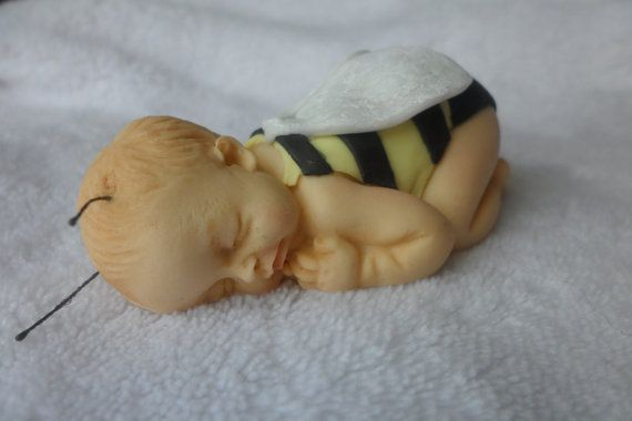 Fondant Baby Bumble Bee Cake Topper by SugarLovies on Etsy
