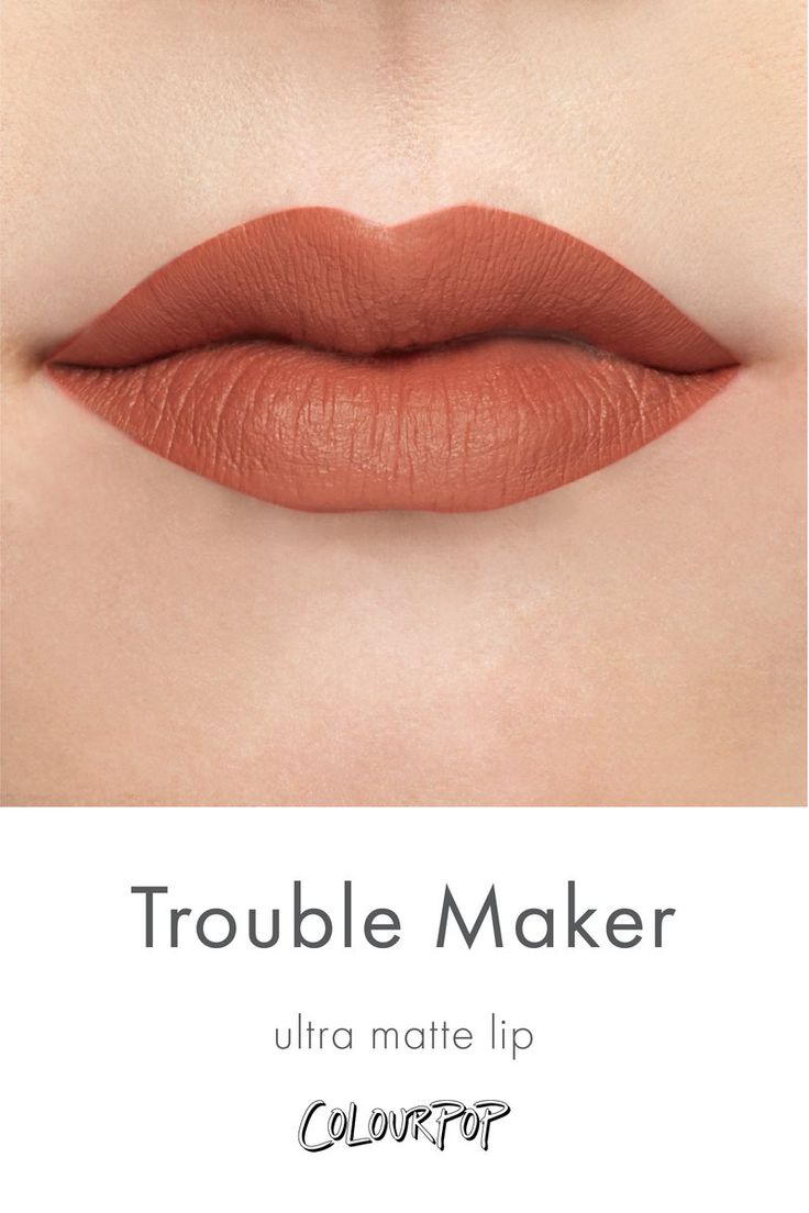Trouble Maker mid-tone brown peach Ultra Matte Lipstick swatch on fair skin