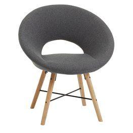 Πολυθρόνα KAPPEL σκούρο γκρι ύφασμα/δρυς