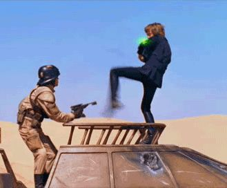The Force-kick! IM DYING OH MY GOSH...meanwhile, Boba Fett careening out of control in the background.