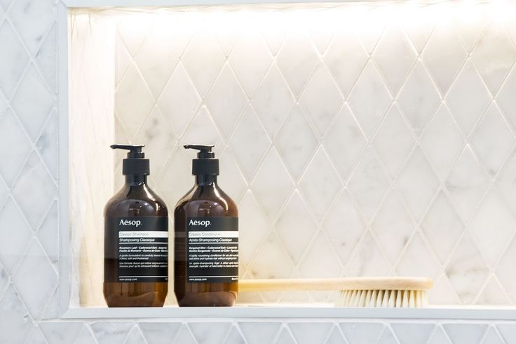 This bathroom styling idea from The Block Triple Threat features our Mosaic Carrara Bianco Diamond feature tile. For more bathroom inspiration visit: http://www.beaumont-tiles.com.au/Room-Ideas/Bathrooms