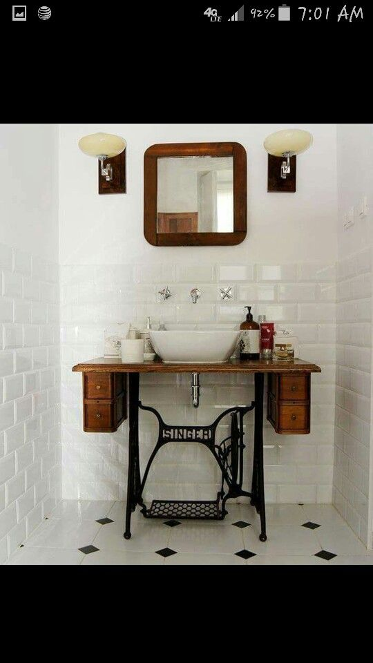 Sewing console bathroom sink 🧜♀️🐋⚙️Home Decor Project Ideas & T…