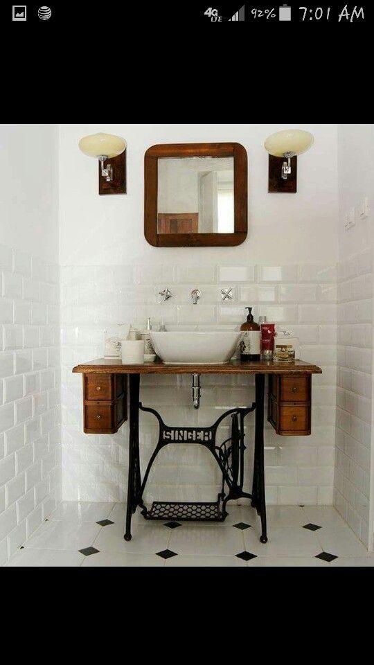 Sewing console bathroom sink | DIY | Pinterest | Bathroom ...