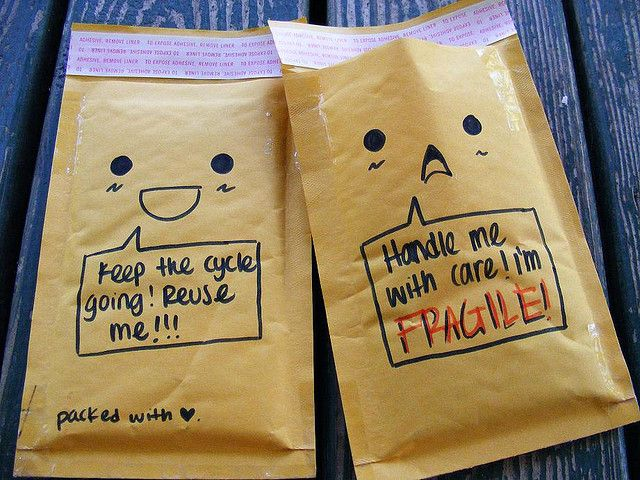 Cute Bubble Mailers with easy to draw faces & speech bubbles.