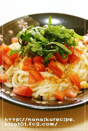 Tomato and Shiso Udon トマトと大葉の冷製サラダうどん