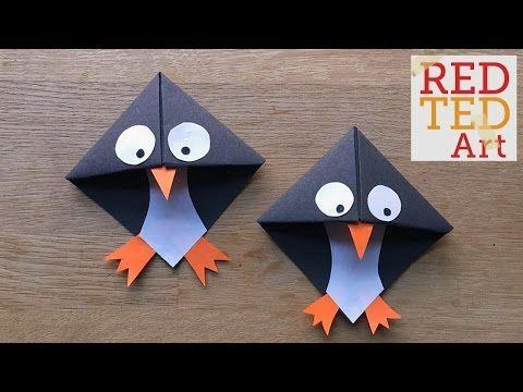 Easy Penguin Bookmark Corner - Red Ted Art's Blog