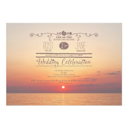 Romantic Beach Sunset Sea Wedding Invitation