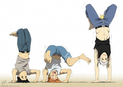 Japan, Italy, and Prussia with Gilbird... sitting on his crotch. ((My physical goal in life:to do what Gil is doing))