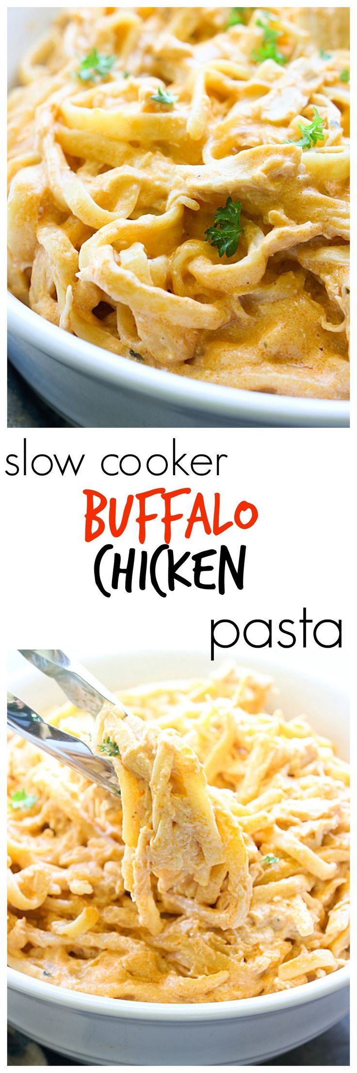Slow cooker recipes are some of the best out there. This Buffalo Chicken Pasta is no exception. It's so creamy and has a little kick with buffalo wing sauce!
