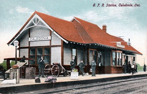 CALEDONIA, Ontario - Grand Trunk RR station old pc canadarail