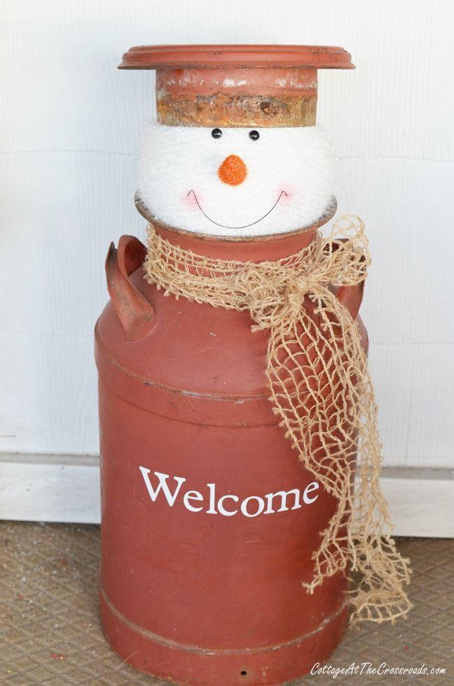 milkcan snowman   Cottage at the Crossroads