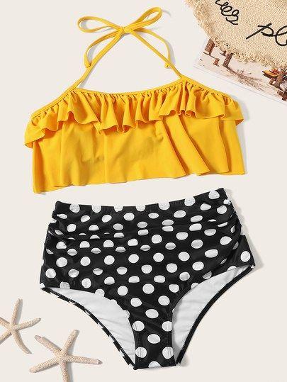 8973cf7ffa753 Polka Dot Ruffle Halter Top With High Waist Bikini [swswim03190305823] -  $32.00 : moonbaye.com
