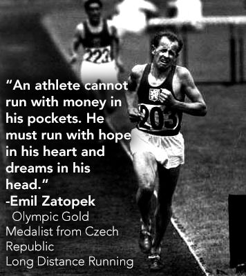 Emil Zatopek- Olympic Gold Medalist in Long Distance Running from the Czech Republic #heart #dreams #run