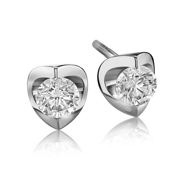 Diamond Solitaire Earrings In 14k White Gold