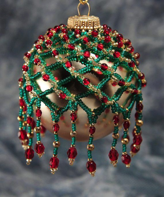 Sparkling Beaded Ornament Cover to dress up any standard or smaller size Christmas ball ornament. All covers are hand-beaded using quality glass