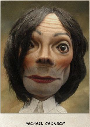 caricatures by Bill Nelson.  Michael Jackson