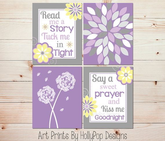 Purple Yellow Nursery Décor-Read Me A Story Nursery Wall Art by HollyPopDesigns, $40.00