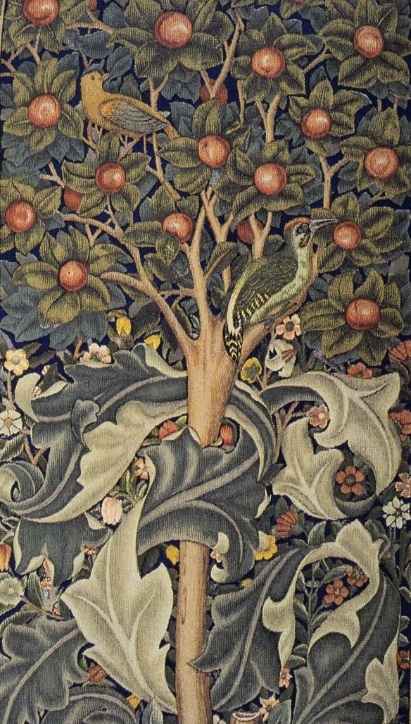 Woodpecker tapestry (detail), by William Morris, 1885