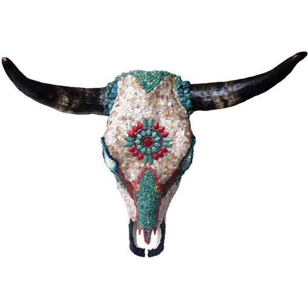 Southwestern Native American Style Mosaic Wall Decor Cow Skull with... ($1,800) ❤ liked on Polyvore featuring home, home decor, animals, decor, turquoise cow skull, mother of pearl home decor, turquoise home accessories, steer skull and mosaic cow skull