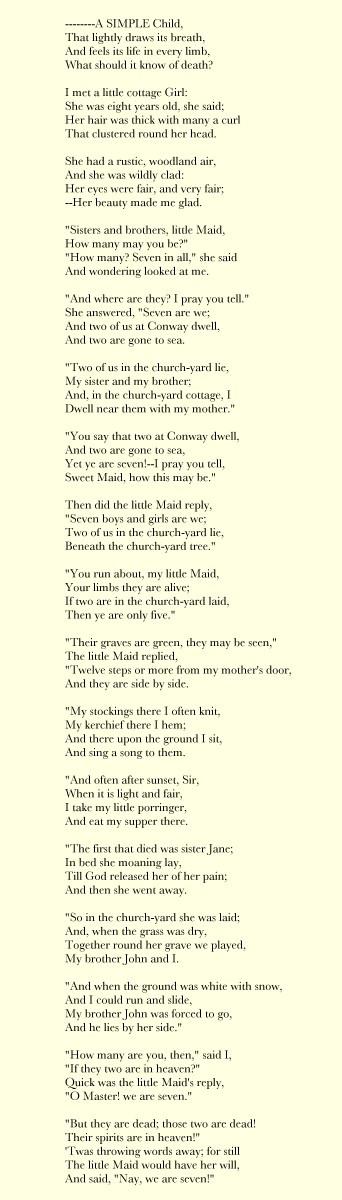 We Are Seven --William Wordsworth