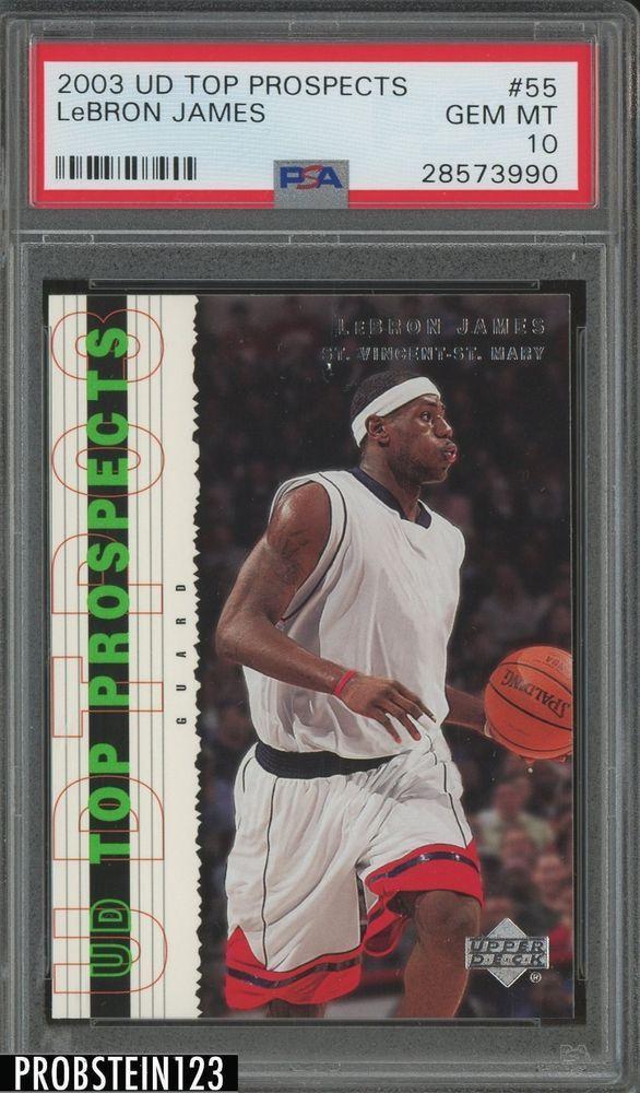bec08b9b21e 2003-04 UD Top Prospects  55 LeBron James Cavaliers RC Rookie PSA 10   LeBronJames  PSA10  sportscards