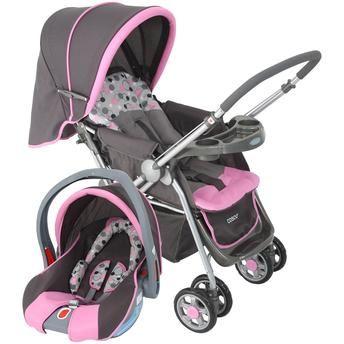 Carrinho de Bebê Cosco Travel System Reverse Rosa