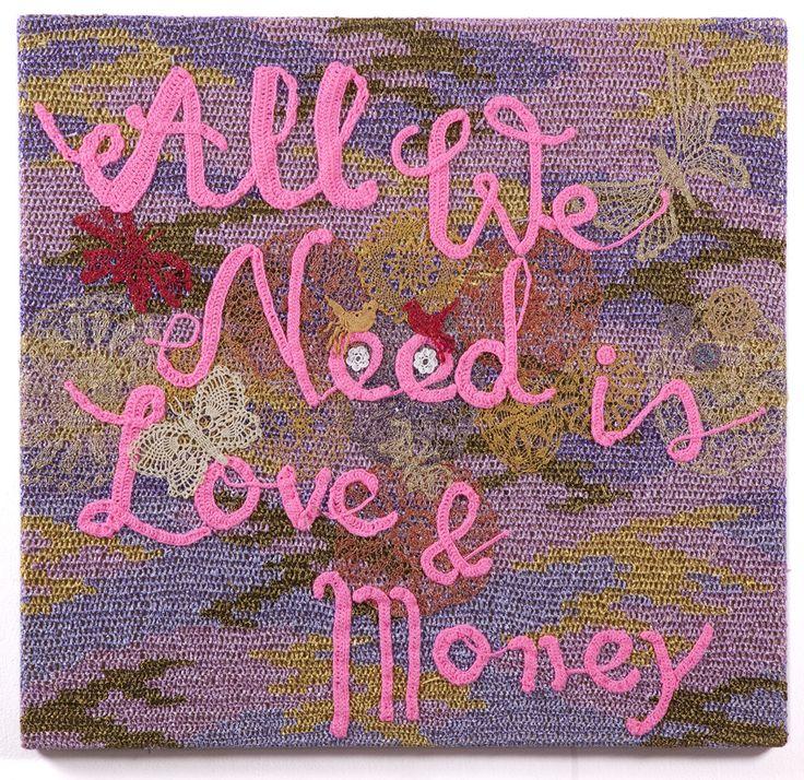 Olek - All We Need is Love and Money #olek #crochet #jonathanlevinegallery