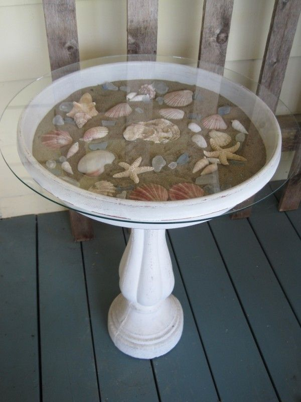 Fill a birdbath with sand & seashells, add a glass topper | beach decor