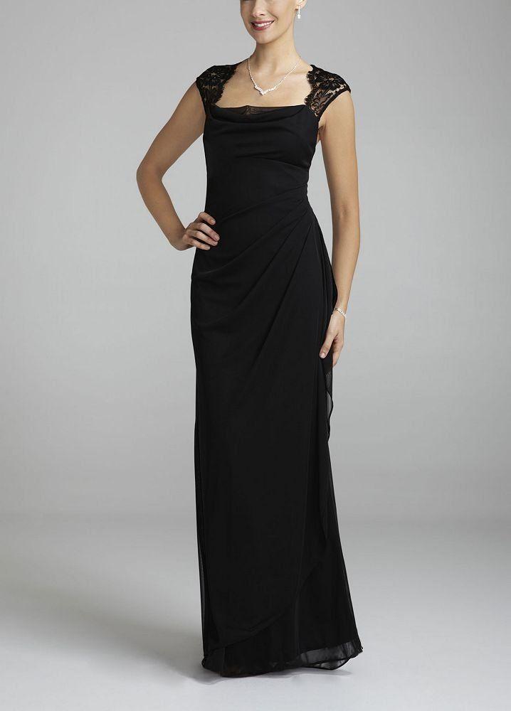 Davids Bridal Womens Cap Sleeve Long Jersey Dress With Lace Detail 17900 Amazon