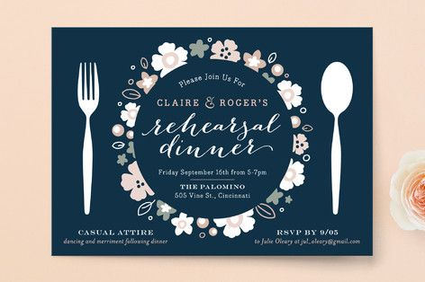 """Pretty Plate"" - Floral & Botanical Rehearsal Dinner Invitations in Navy by Carrie ONeal."