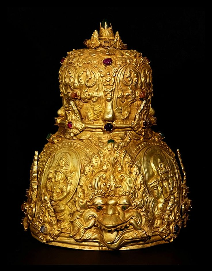 Indonesia ~ Buddhist religious crown, before the 7th century, Ancient Kingdom of Mataram, Indonesia. Gold and precious stones. Yale University Art Gallery.