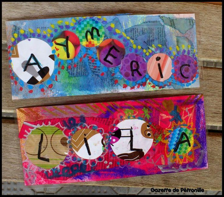 etiquettes casier ou portemanteau de la craie, du papier journal encré, des disques de papier (un par lettre...oui quand même on ne fait pas que s'amuser), des feutres pour la touche finale