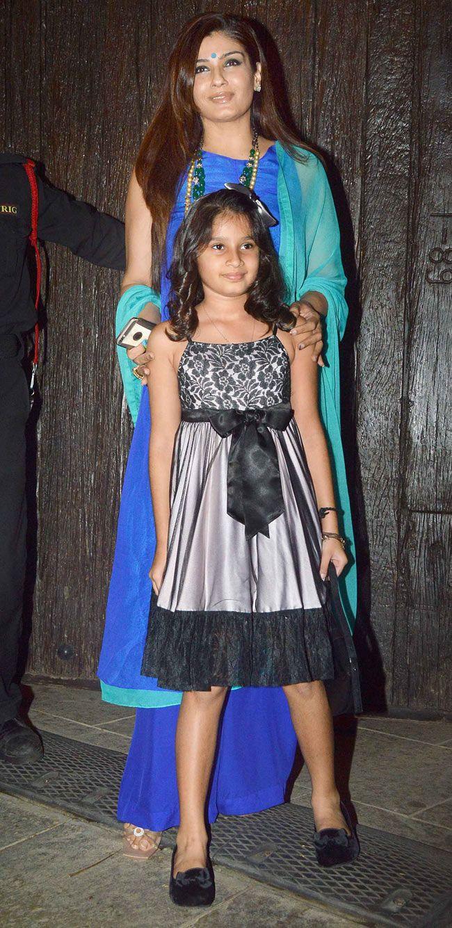 Raveena Tandon with her daughter Rasha at Aaradhya Bachchan's birthday bash. #Bollywood #Fashion #Style #Beauty