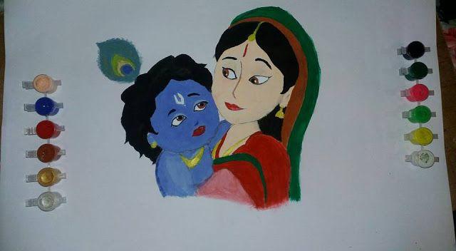 mema: my 1st painting....little krishna and yasodha