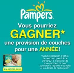 Gagnez* des couches Pampers GRATUITES pour un an! Fin le 30 juin.  http://rienquedugratuit.ca/concours/pampers-gratuites-pour-un/