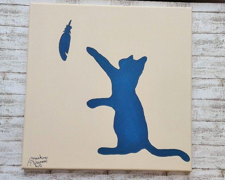 Já ho chytnu.... Kočička s pírkem (30x30cm). new picture cat with feather. Art cat kitty feather. Abstract art, technique: acrylic