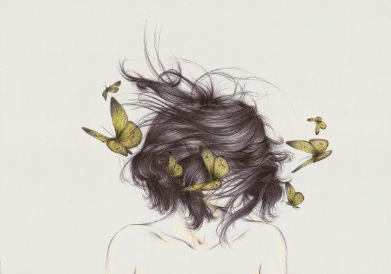 : Deer Illustrations, Girls Illustrations, Butterfly Hair, Wild Hair, Butterflies Hair, Illustrations Art Ion, Butterfly Sketch, Butterflies Sketch, Pretty Drawings