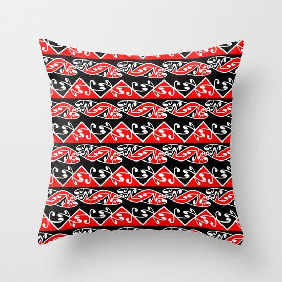Kowhaiwhai Traditional Maori Koru Pattern throw pillow