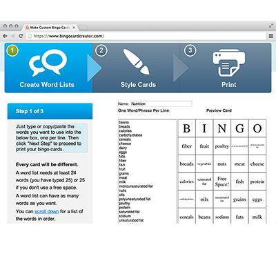 Create Your Own Bingo Cards In Just Three Steps! Bingo Card Creator lets teachers and parents make custom printable bingo cards for instruct... $$ http://www.bingocardcreator.com/