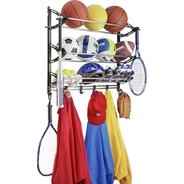 Wall Sports Storage Organizer Garage Hook Shelf Bat Ball