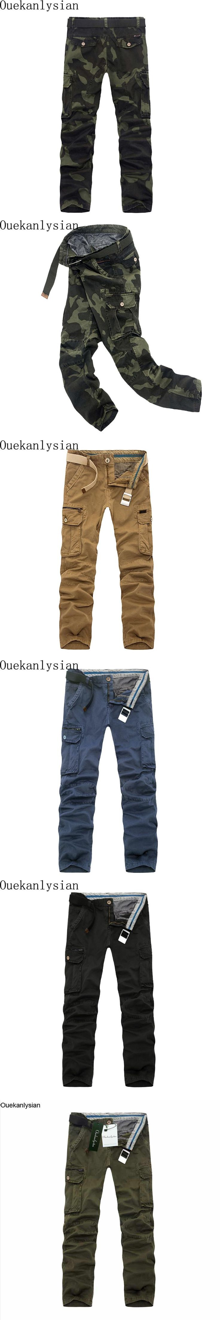 Ouekanlysian 90% Cotton Camouflage Cargo Pant Men Loose Multi Pockets Military Army Camo Pant Tactical Overalls Pantalones Hombr