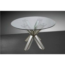 Hancock Transitional Mirrored Round Glass Dining Table - 660.0000