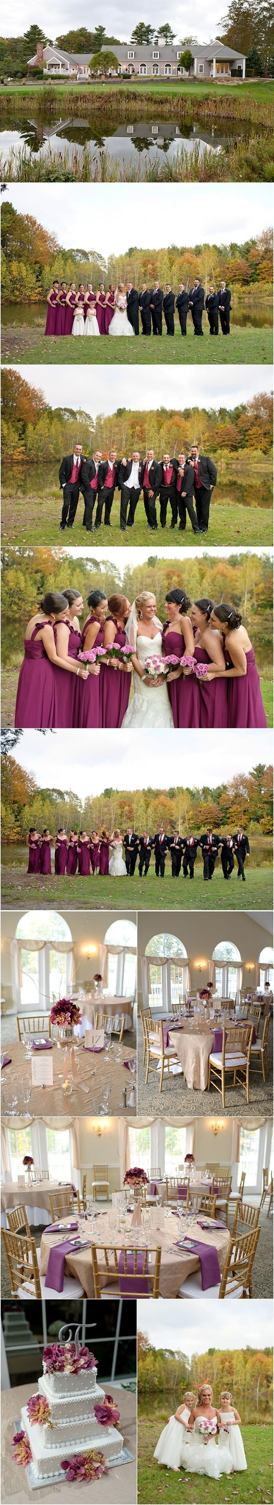 Fall Maine Wedding Pink Burgundy Gold Wine Themed Dunegrass Country Club Southern
