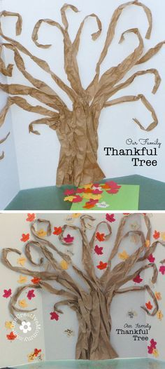 Teach your kiddos about gratitude with a Thankful Tree. Write things you are thankful for on the leaves, and keep adding them all month long. {OneCreativeMommy.com} #ThanksgivingCraft